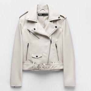 NWT Ecru Faux Leather Biker Jacket w/ True Belt XL
